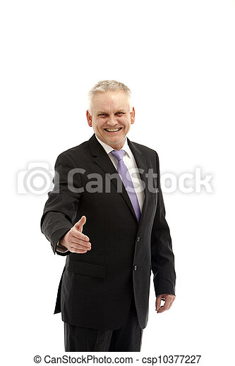 laughing, senior business man holding his hand in greeting - - csp10377227