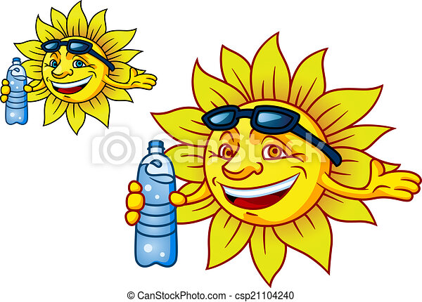 Laughing tropical sun with bottled water - csp21104240
