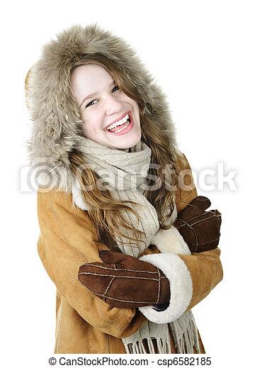 Laughing winter girl in hood - csp6582185