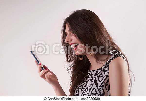 Laughing woman portrait - csp30399891