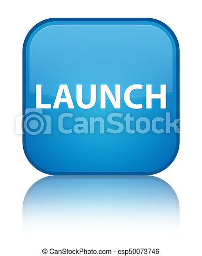 Launch special cyan blue square button - csp50073746