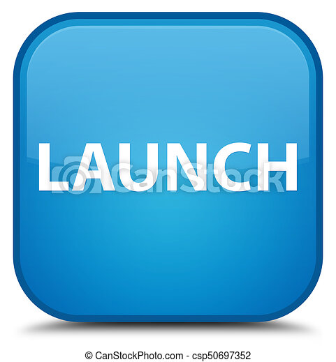 Launch special cyan blue square button - csp50697352