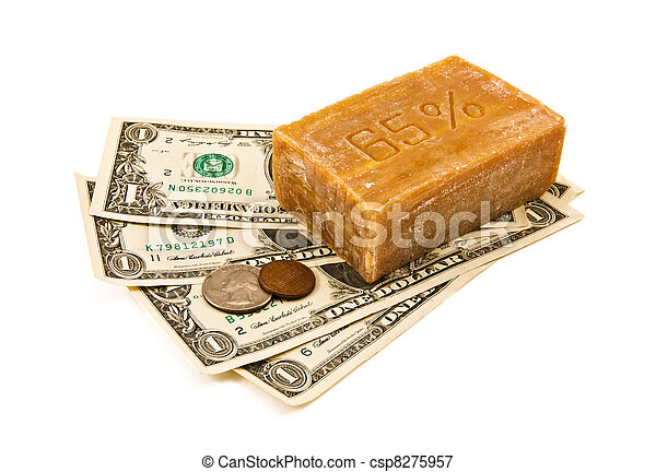 Laundering of money. Money and soap - csp8275957