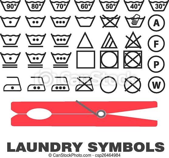 Laundry Care Symbols Icons Black On White Background Vector Isolated
