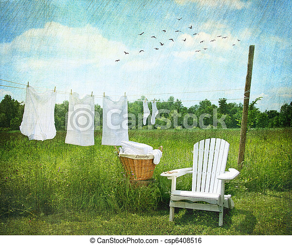 Laundry drying on clothesline  - csp6408516