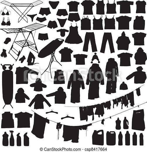 Laundry objects black and white silhouettes - csp8417664