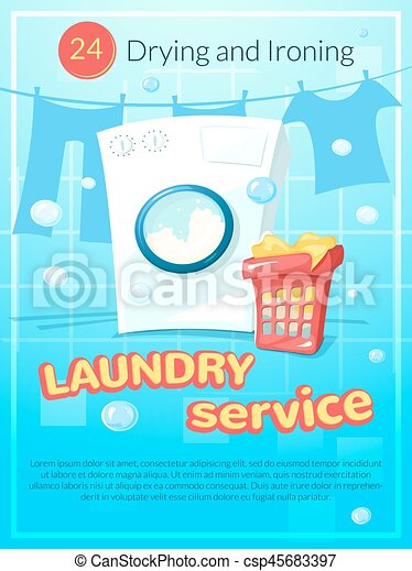 Laundry Service Poster Vector Illustration Laundry Service