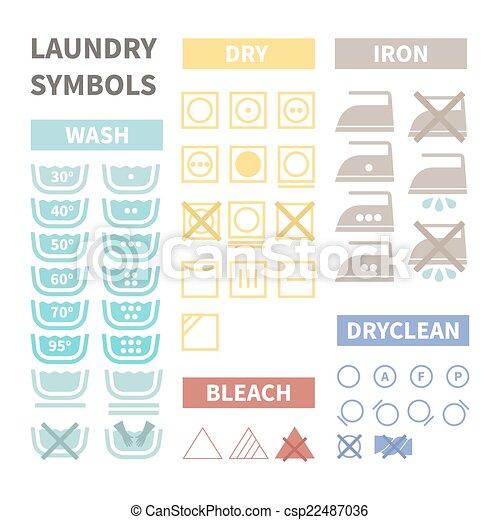 Laundry Symbols Flat Set Of Laundry Icons Perfect Cloth Labels