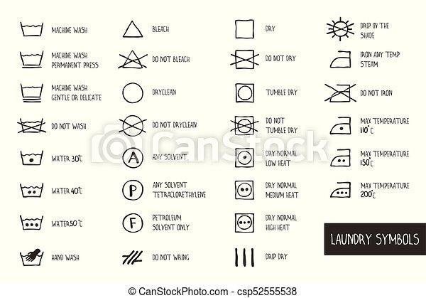 Laundry Symbols Set Orange Laundry Icons