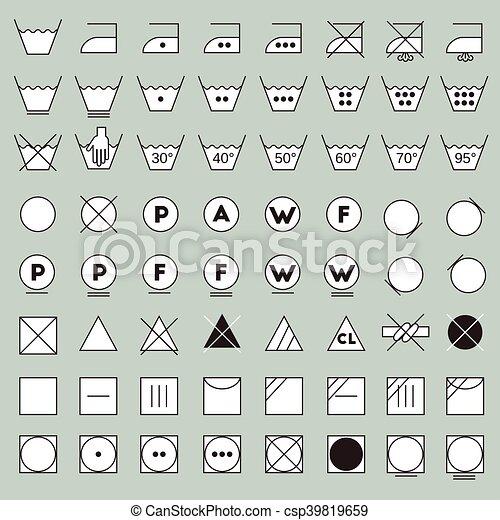 Laundry Symbols Line Design Washing Ironing Bleaching Drying