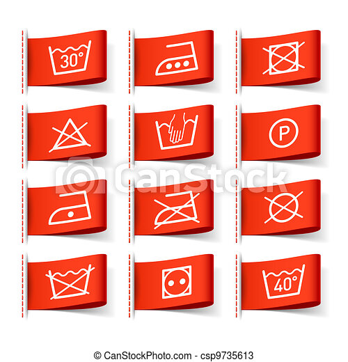 Laundry symbols on clothing labels - csp9735613