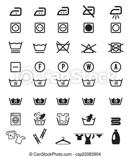 Clothing Care And Laundry Washing Instruction Icon Symbols