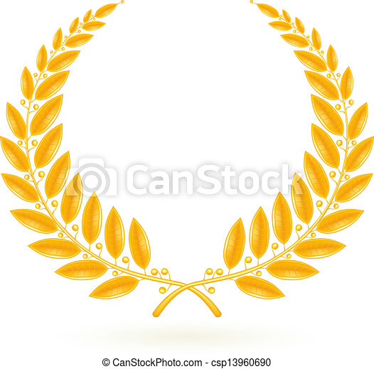 corona de laurel de oro, vector - csp13960690