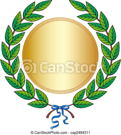 green laurel wreath with medal and blue ribbon vector clip art rh canstockphoto com wreath clipart free wreath clip art black and white