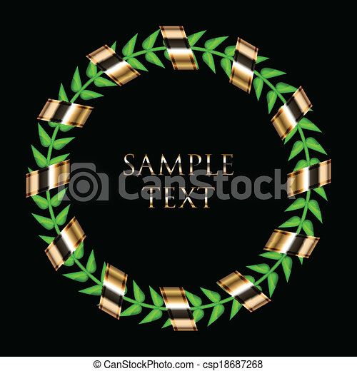 laurel wreath with gold ribbon - csp18687268