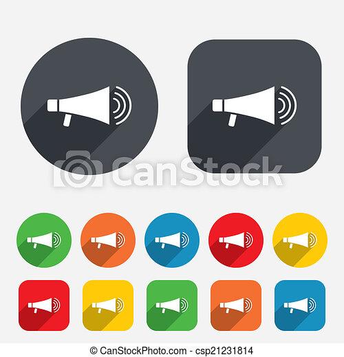 Lautsprecher, icon., megaphon, bald, symbol. Lautsprecher,... Vektor ...
