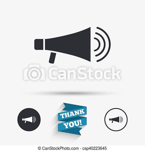Lautsprecher, icon., megaphon, symbol., zeichen.... EPS Vektor ...