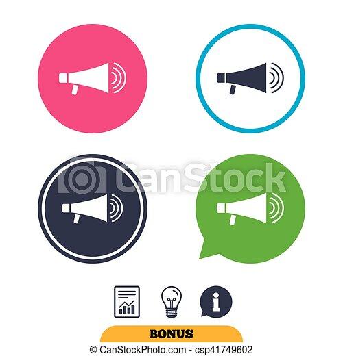 Lautsprecher, icon., megaphon, symbol., zeichen.... Vektor Clipart ...
