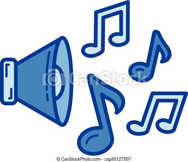 Lautsprecher, linie, icon. Lautsprecher, blaues,... Vektor Clipart ...