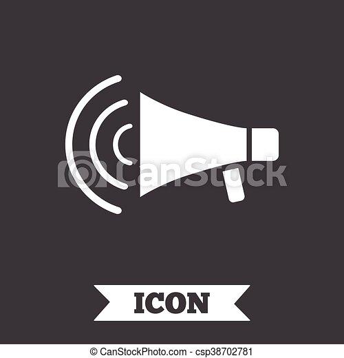 Lautsprecher, symbol., zeichen, streik, icon., megaphon.... Vektor ...