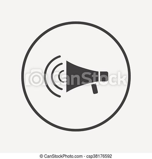 Lautsprecher, symbol., zeichen, streik, icon., megaphon.... EPS ...