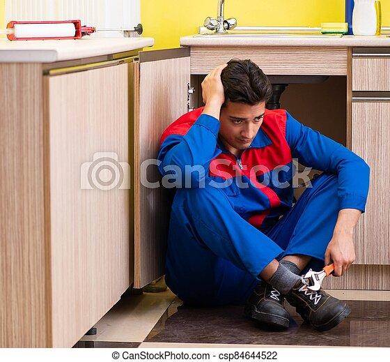 lavado, cocina, plomero, palangana, reparación - csp84644522