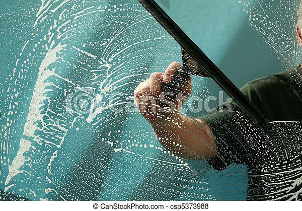 lavage fenêtre, nettoyage - csp5373988