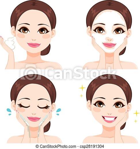lavaggio, donna, passi, faccia - csp28191304