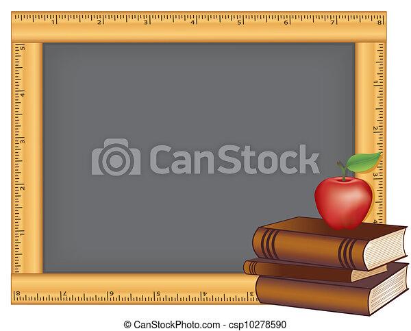lavagna, cornice, mela, righello, libri - csp10278590