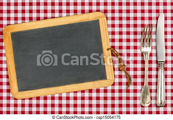 lavagna, tovaglia, checkered, vuoto, argenteria - csp15054175