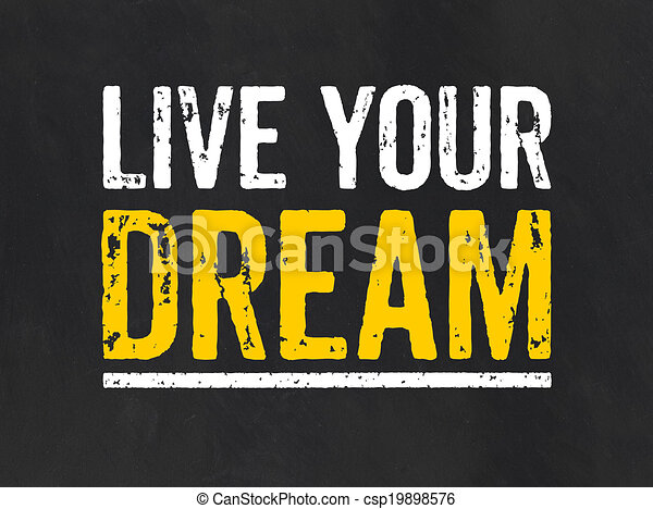 lavagna, vivere, sogno, tuo, testo - csp19898576