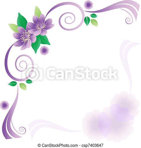 lavander, flores, cartão, casório - csp7403647