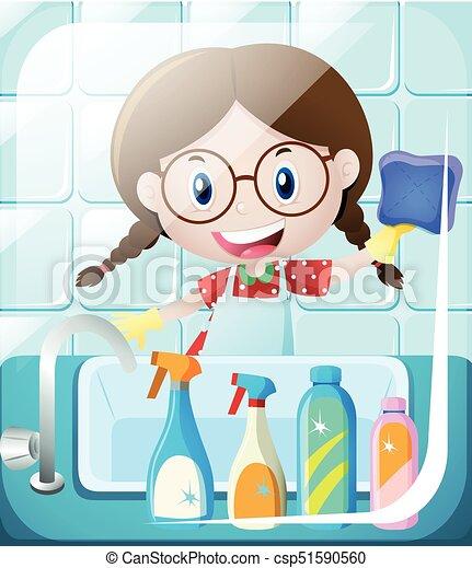 Lavandino, ragazza, bagno, pulizia. Lavandino, ragazza,... vettore ...