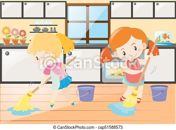 Lavando, ragazze, due, cucina, pavimento. Pavimento ...