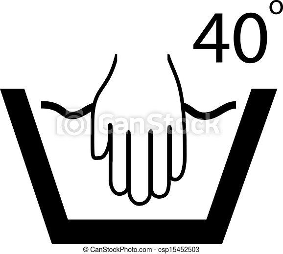 lavare, simbolo, mano - csp15452503