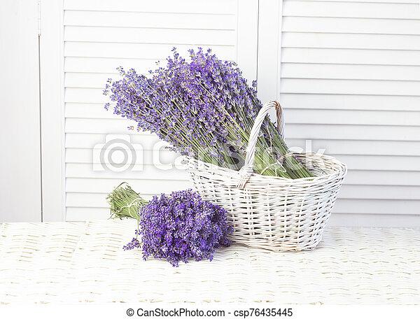 Lavender in a basket. Provence region of france - csp76435445