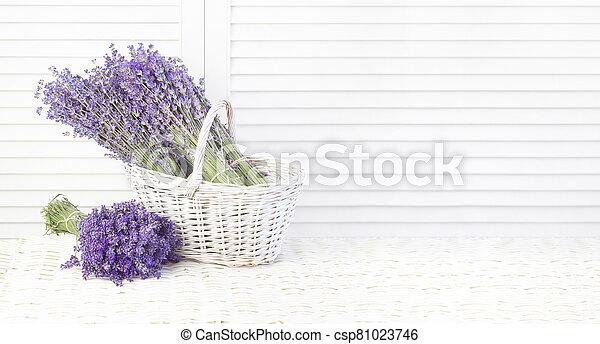Lavender in a basket. Provence region of france - csp81023746
