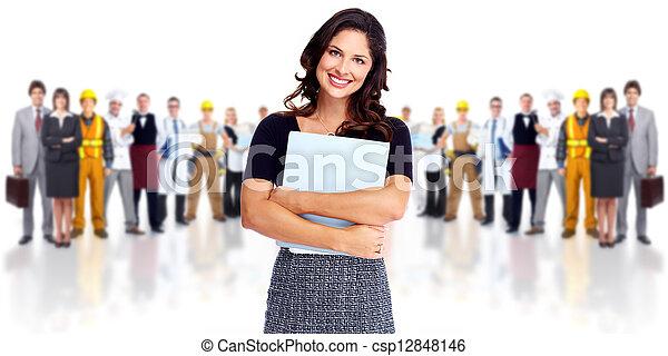 lavorante, donna, gruppo, persone., affari - csp12848146