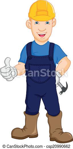 lavoratore, costruzione, riparatore - csp20990662
