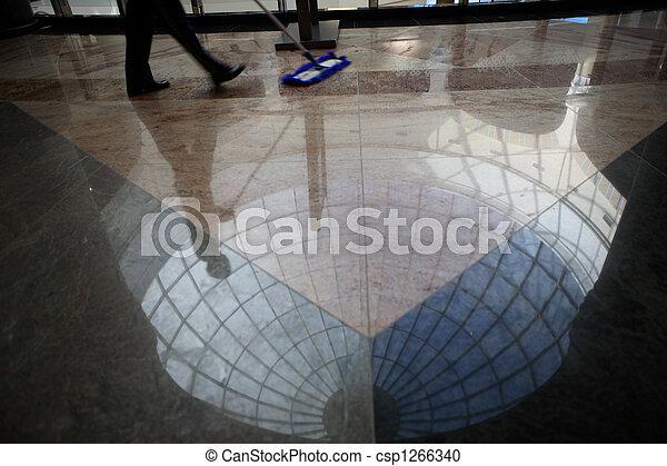 lavoratore, pulizia, pavimento - csp1266340