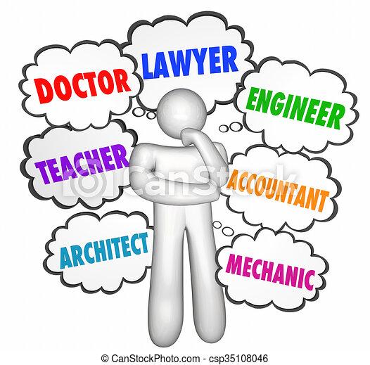lavori, pensare, pensiero, persona, parole, nubi, opzioni, carriere - csp35108046