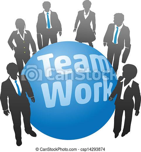 lavoro, affari persone, palla, squadra - csp14293874