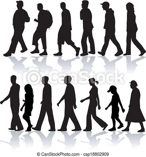 lavoro, camminare, vettore, peopel- - csp18802909