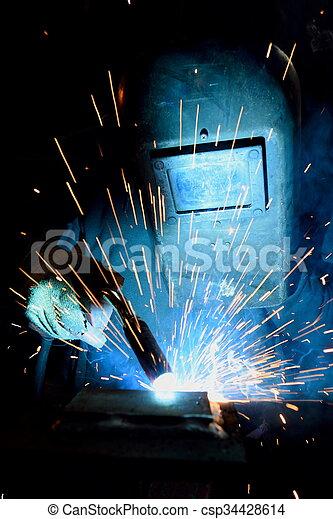 lavoro, saldatore arco - csp34428614