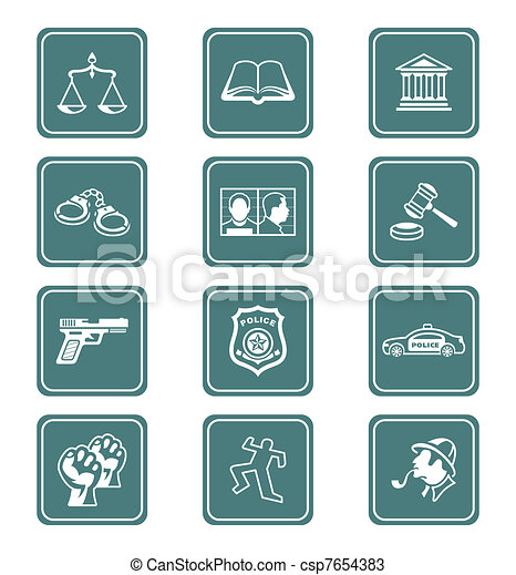 Law and order icons   TEAL series - csp7654383
