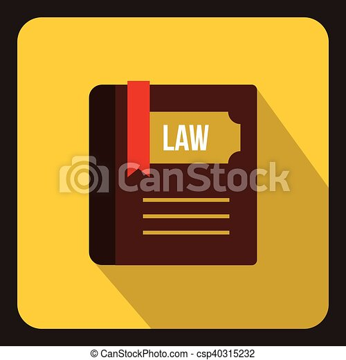 Law book icon in flat style - csp40315232