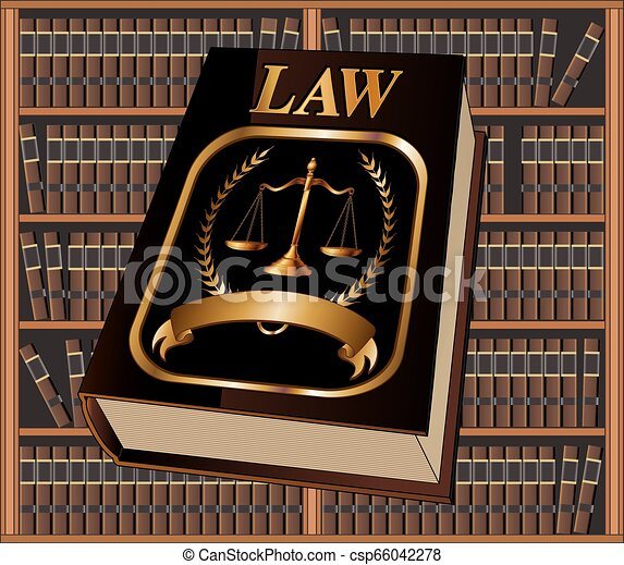 Law Book Seal and Library - csp66042278