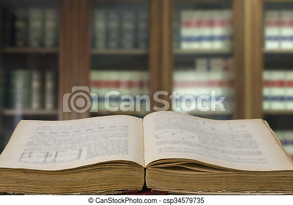 law books in the office with library - csp34579735