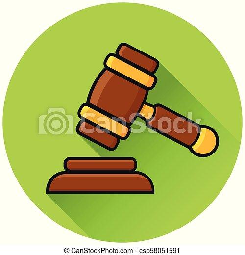 law circle green flat icon - csp58051591