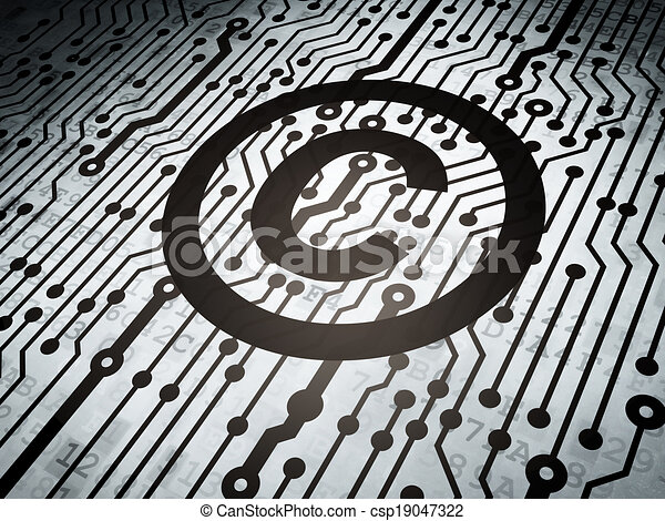 Law concept: circuit board with Copyright - csp19047322